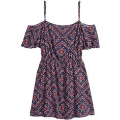Off-the-shoulder Dress $17.99 ($25) ❤ liked on Polyvore featuring dresses, cut out shoulder dress, off the shoulder dress, mixed print dress, butterfly sleeve dress and off the shoulder short dress