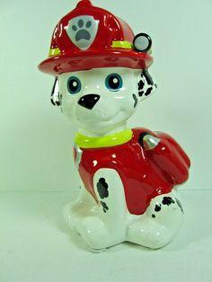 "Collectible Ceramic Firehouse Dalmation Dog Coin Bank - 6"" Tall"
