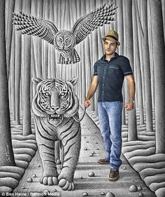Mr Ben Heine appears to walk a tiger in one of his 3D pencil drawings....fascinating technique!!