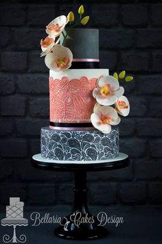 Paisley and orchid wedding cake - Cake by Bellaria Cake Design Beautiful Wedding Cakes, Gorgeous Cakes, Pretty Cakes, Cute Cakes, Amazing Cakes, Unique Cakes, Elegant Cakes, Fondant Cakes, Cupcake Cakes