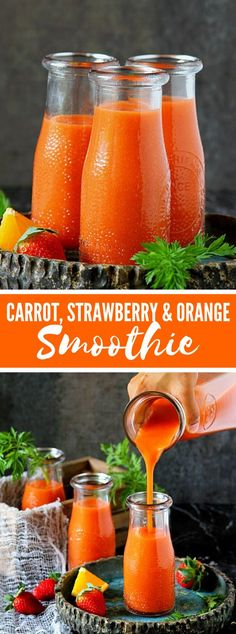 Healthy smoothie recipes 599049187920222307 - Get your day by day portion of nutrients with this vivid, sound and delectable carrot-strawberry-orange smoothie! I am a sorry vegetable smoothie in… Source by simplycookingintexas Smoothie Legume, Smoothies Vegan, Carrot Smoothie, Vegetable Smoothies, Avocado Smoothie, Fruit Smoothies, Smoothies With Vegetables, Smoothie With Carrots, Simple Smoothies