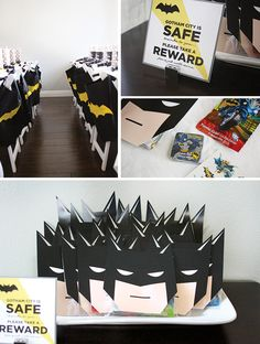 Modern Batman Birthday Party {with DIY Gotham City!}- great favors Superman Party, Superhero Party, Batman Party Favors, Diy Birthday, Birthday Party Themes, Kids Party Themes, Batman Birthday, 10th Birthday, Birthday Ideas