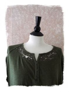 New Catherines Plus Size 2X Crochet Tee Top Cotton Short Sleeve Green 22 24W