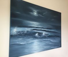 """Bring natural freshness to any room! Ocean waves painting """"Moon Dance"""" , oil on canvas 36x24"""", new on www.evavolf.com"""