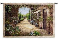 TUSCAN FLORAL ARCH COURTYARD ART TAPESTRY WALL HANGING 55x37 #PCW