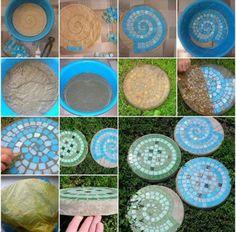 mozaiek | Zelf stapstenen van mozaïek en cement maken voor de tuin. Door riverblauw