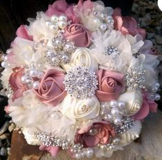 Items similar to Romantic Dusty Rose And Ivory Fabric Flower and Brooch Bouquet, Dusty Rose Deep Blush Brooch Bouquet, Blush Rose Bouquet on Etsy Lace Bouquet, Wedding Brooch Bouquets, Bride Bouquets, Purple Bouquets, Ribbon Bouquet, Bridesmaid Bouquets, Peonies Bouquet, Pink Bouquet, Flower Bouquets