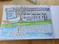 ...und das hier ist meine erste Live-Skizze. Ich saß in den Wallanlagen auf einer Bank und skizzierte, was ich sah.