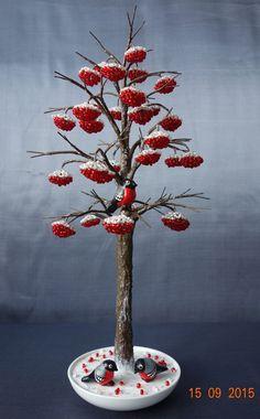 Рябина со снегирями | biser.info - всё о бисере и бисерном творчестве