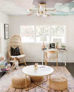 Our playroom update has been a long (very long) time coming. When we started our basement remodel we began rethinking the functionality of this room. Wallpaper Ceiling, Cool Wallpaper, Pinterest Home, Beach Bungalows, Hudson Valley Lighting, Basement Remodeling, Mudroom, Hanging Chair, Fall Decor