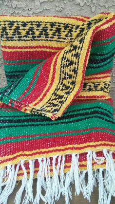 Vintage Bright Color Hand Woven Mexican Striped Red Yellow Green South Western…