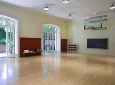 Indoor basketball/sport court adjoining a fresh-air terrace