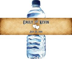 75 Vintage Waterproof Water Bottle Labels  Printed by LabelsRus, $29.95