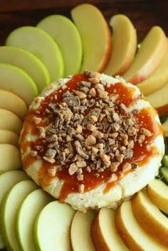 this sounds amazing. cheese cake caramel nut apple slice dip.