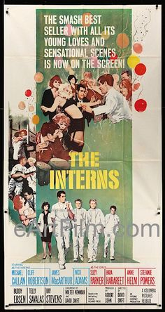 The Interns, David Swift's medical drama starring Cliff Robertson, Michael Callan, James MacArthur, Nick Adams, Suzy Parker, Buddy Ebsen, Telly Savalas and Stefanie Powers. Poster artwork by Howard Te