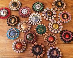 Champagne cap charms waiting to be beaded
