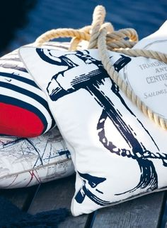#Beach Destination Decor Inspiration// Nautical Pillows, outside patio couch idea. It's about more than golfing,  boating,  and beaches;  it's about a lifestyle  KW  http://pamelakemper.com