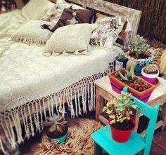 Boho bedroom. Love the crochet duvet!