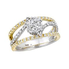 Adorne Collection 1-1/4 CT. T.W. Composite Diamond Bypass Open Shank Ring in 14K Two-Tone Gold