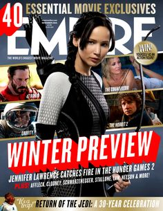 Empire's Hunger Games: Catching Fire Cover Arrives Hunger Games Movie Series, Hunger Games Movies, Hunger Games Mockingjay, Hunger Games Catching Fire, Hunger Games Trilogy, Jennifer Lawrence, Fire Cover, Hunger Games Exhibition, Movie Magazine