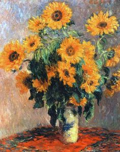 Claude Monet - Bouquet of Sunflowers, 1880 Art Print. Explore our collection of Claude Monet fine art prints, giclees, posters and hand crafted canvas products Claude Monet, Monet Paintings, Impressionist Paintings, Sunflower Art, Sunflower Paintings, Sunflower Kitchen, Ouvrages D'art, Oil Painting Reproductions, Fine Art