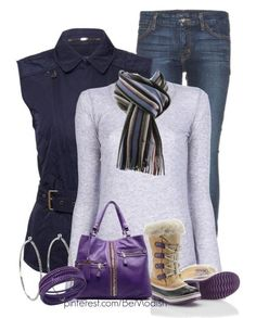 Casual Winter Outfit With Purple Joan Of Arctic Boots! Dont care for the purple bag so much, but I love the rest of it! O how I love a good vest!