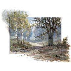 Posterazzi Forest creation Canvas Art - Reint Withaar x Watercolor Trees, Watercolor Landscape, Landscape Paintings, Peintures Bob Ross, Bob Ross Paintings, Watercolor Paintings For Beginners, Dream Pictures, Painted Cottage, Dutch Painters