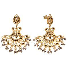 Buy Pomegranate 18ct Gold Vermeil Fan Chandelier Smoky Quartz Earrings Online at johnlewis.com