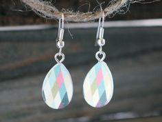 Flirtatious Handmade Teardrop Wood Cut Cabochon Earrings / Everyday Womens Jewelry