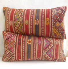 Set of 2 Hand embroidered Kilim Lumbars by PillowTalkOnEtsy, $116.00