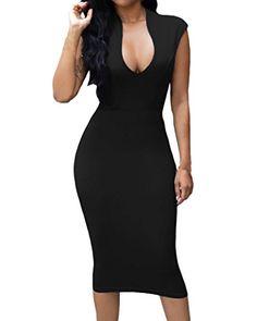 Huusa Womens Low V Neck Sleeveless Bodycon Cocktail Party Midi Dress  19.99 Club  Dresses f6f1bcafe758