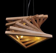 Triangle Tunnel Solid Wood Chandelier - #PendantLighting #Design #Handmade #LampShade #Modern #Wood (source: idlights.com)