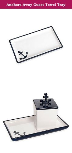Anchors Away Guest Towel Tray. Transform your bath with the chic nautical style of the Lamont Home India Ink Anchors Away Guest Towel Tray. This beautifully crafted ceramic tray boasts a navy exterior and white interior accented with a navy anchor.