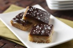Salted Caramel Cashew Shortbread Bars with Dark Chocolate Ganache