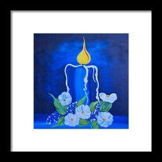 Blue Candle Framed Print By Alex Art