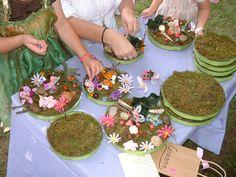 Fairy Garden activity, so fun! Can use moss, flowers, butterflies, ribbon from #dollartree