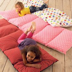 "Pillowcase mats -- I love this idea!  I'm going to get some cute pillowcases and sew together and make this for extra ""seating"" for when we watch family movies!!"