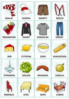 Polish vocabulary - Clothes, etc Kids Learning Activities, Toddler Activities, Learn Polish, Polish Words, Polish Language, Gernal Knowledge, Primary Teaching, Idioms, Learn To Read