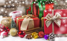Download wallpapers Christmas, presents, cones, New Year, Christmas balls, decoration
