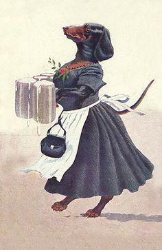 Vintage illustration - dressed Dachshund