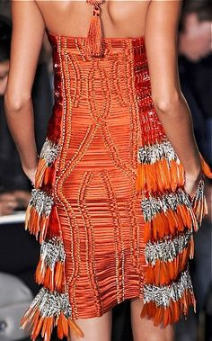 Fringe and Couture Details ~ Orange and Silver