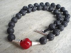 Santorini Black Lava Necklace Red Natural Coral by AnnaRecycle