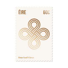 Eire -Four Leaf Clover Stamp. Design by Duane Dalton Graphic Design Print, Graphic Design Illustration, Graphic Illustrations, Creative Logo, Creative Design, Clover Logo, Leaf Clover, Postage Stamp Design, Postage Stamps