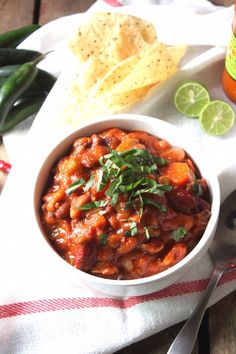 The Best Spicy Vegan Chili! Packed with beans, veggies, and a hearty dose of spice.