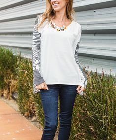 Look what I found on #zulily! Pinkblush White & Gray Floral Hi-Low Sweater by Pinkblush #zulilyfinds