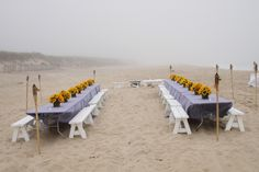 ♡ Beach #wedding #Sunflower #table ... For wedding ideas, plus how to organise an entire wedding, within any budget ... https://itunes.apple.com/us/app/the-gold-wedding-planner/id498112599?ls=1=8 ♥ THE GOLD WEDDING PLANNER iPhone App ♥  For more wedding inspiration http://pinterest.com/groomsandbrides/boards/ photo pinned with love & light, to help you plan your wedding easily ♡