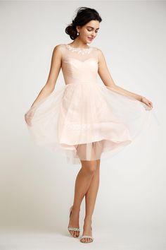 A-line Short Pearl Pink Tulle Bridesmaid Dress. cheap bridesmaid dresses,cheap bridesmaids dresses, #bridesmaiddresses