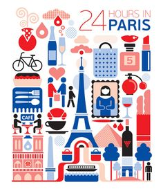 24 hours in Paris, France is part of a series designed by Fernando Volken Togni for the Oryx Magazine, Qatar Airways. If you like this illustration check out India, South. Paris Travel, France Travel, Travel Uk, City Poster, Paris Poster, Deco Paris, Chic Type, Magazin Design, France Art