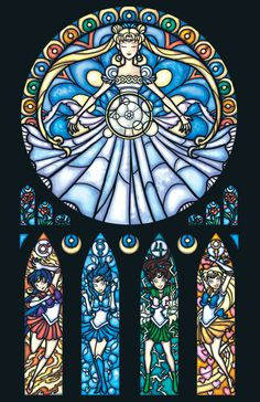 Full Size  Stained Glass Sailor Moon Print por 0ShardsofColor0