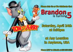 PERSONALIZED  Tom and Jerry Birthday Party by PerfectPartyInvites, $0.50